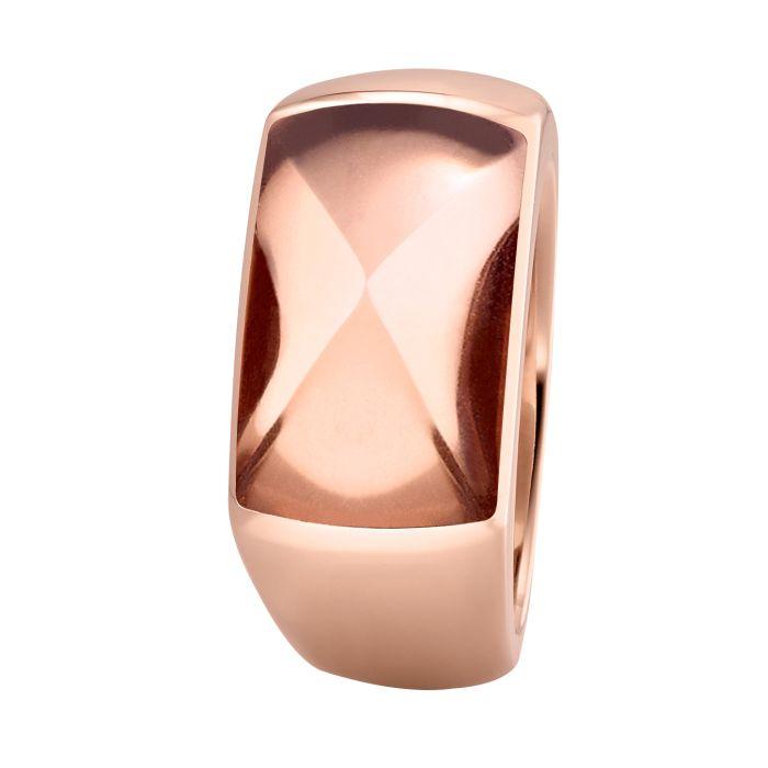 Ring aus Edelstahl roségoldbeschichtet mit Rauchquarz