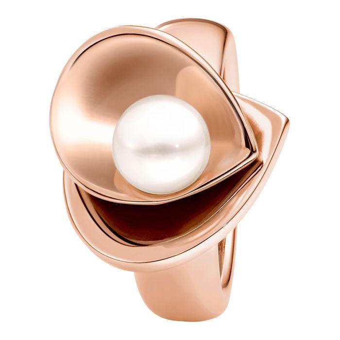 Ring aus Edelstahl roségoldbeschichtet mit Zuchtperle und Blattform