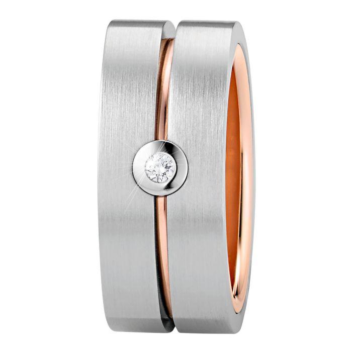 Ring aus Edelstahl roségoldbeschichtet mit 0,03 ct. Brillant