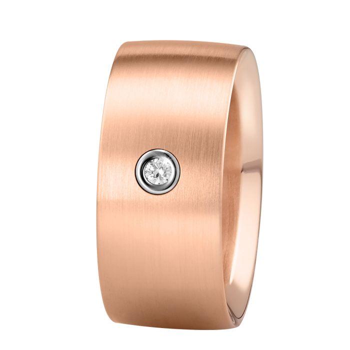 Ring aus Edelstahl roségoldbeschichtet mit 0,04 ct. Brillant