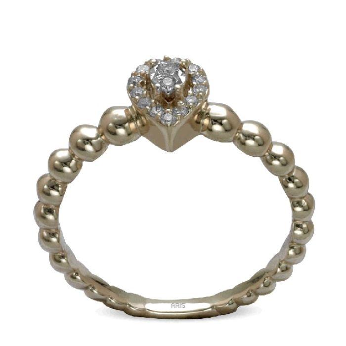 Ring aus 585 Gelbgold mit 15 Diamanten