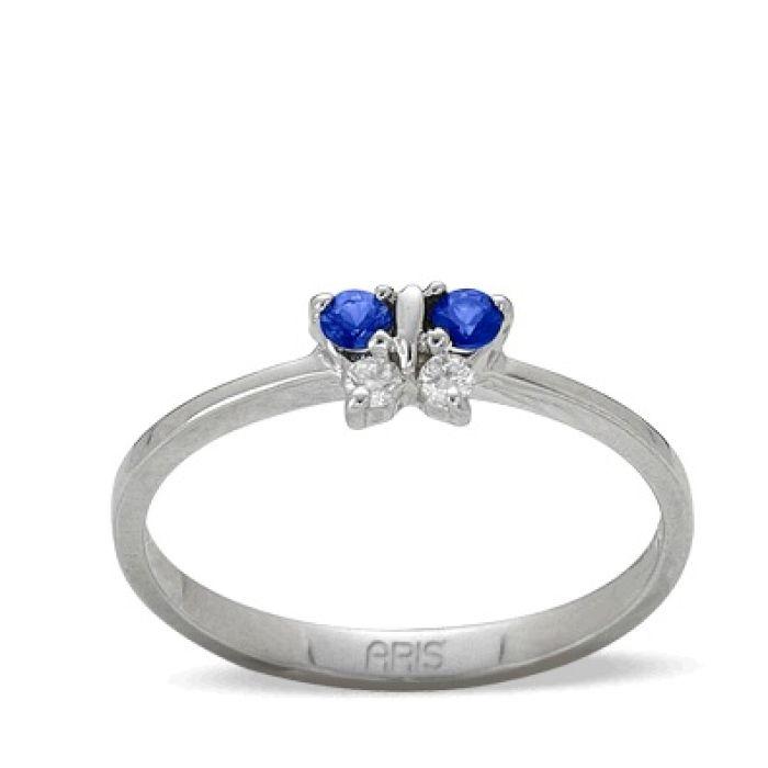 Ring aus 585 Weissgold mit 0,05 Karat Diamanten und 0,13 Karat Saphire