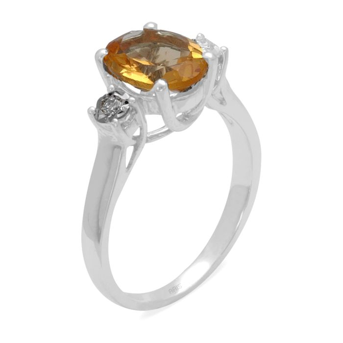Ring aus 585 Weissgold mit 0,04 Karat Diamanten und einem 1,51 Karat Saphir