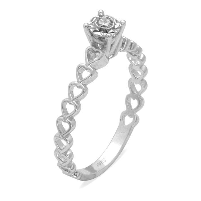 Ring aus 585 Weissgold mit einem 0,05 Karat Diamanten