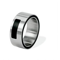 Ring aus Edelstahl mit Keramikeinlage