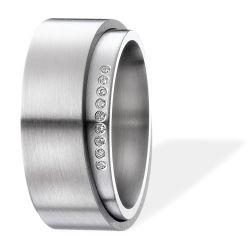 Ring aus Edelstahl mit 0,045ct. Brillanten