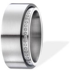 Ring aus Edelstahl mit 0,085 ct. Brillanten