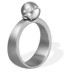 Ring aus Edelstahl mit Aufsatz und 0,025 ct. Brillanten