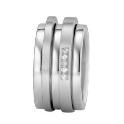 Ring aus Edelstahl mit 0,05 ct. Brillanten