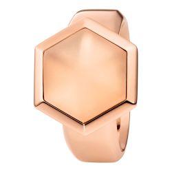 Ring aus Edelstahl roségoldbeschichtet mit Bergkristall