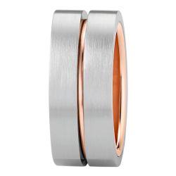 Ring aus Edelstahl roségoldbeschichtet mit Rille