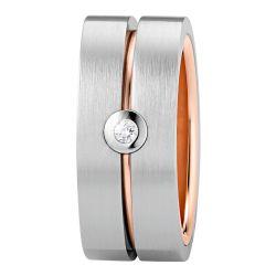 Ring aus Edelstahl roségoldbeschichtet mit 0,03 ct. Brillant jetzt online bestellen auf www.zenubia.ch