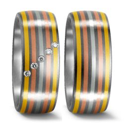 Titan, 750/18 K Gelbgold, 950 Platin Ring