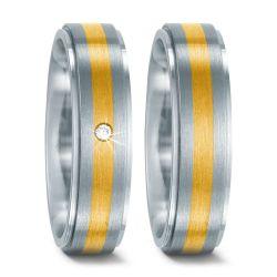 Edelstahl, 750/18 K Gelbgold Ring