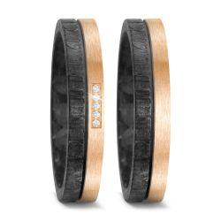 Trauringe aus Carbon und Bronze mit 0,5 Karat Brillanten