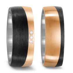Ringe aus Bronze, Titan und Carbon mit 0,03 Karat Brillanten