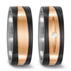 Ringe aus Bronze, Titan und Carbon mit 0,03 Karat Brillant