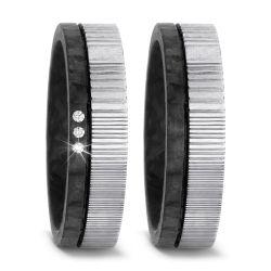 Trauringe aus damaszener Stahl und Carbon mit 0,03 Karat Brillanten