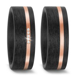 Trauringe aus 585/14 K Roségold und Carbon mit 0,025 Karat Brillanten