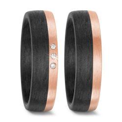Trauringe aus 585/14 K Roségold und Carbon mit 0,03 Karat Brillanten