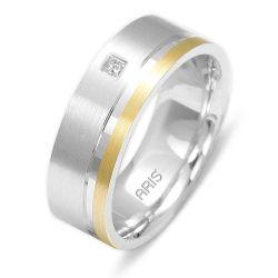 Ring aus 585 Weissgold mit 0,02 Karat Diamanten