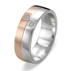 Ring aus 585 Weissgold und Rotgold mit 0,06 Karat Diamanten
