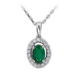 Collier aus 585 Weissgold mit 0,12 Karat Diamanten und einem 0,43 Karat Smaragd