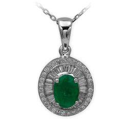 Collier aus 585 Weissgold mit 0,13/0,31 Karat Diamanten und einem 0,78 Karat Smaragd