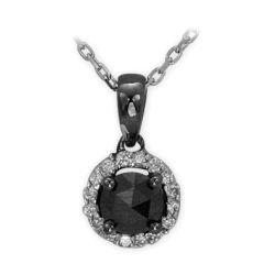 Collier aus 585 Weissgold mit 0,08 Karat Diamanten und einem 0,23 Karat Edelstein