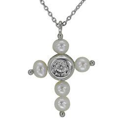 Kreuzanhänger aus 585 Weissgold mit einem 0,02 Karat Diamanten