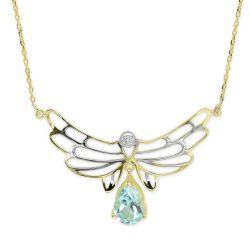 Collier aus 585 Weiss/Gelbgoldgold mit 0,03 Karat Diamanten und Edelsteinen