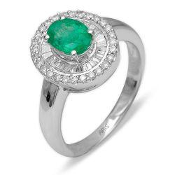 Ring aus 750 Weissgold mit Diamanten und einem Smaragd