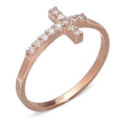 Ring aus 585 Roségold und 0,15 Karat Diamanten