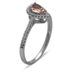 Ring aus 750 Weissgold mit Diamanten und einem Rubin