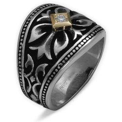 Ring aus 925 Silber/585 Gelbgold und 0,05 Karat Diamant