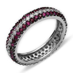 Ring aus 750 Weissgold mit 1,45 Karat Rubinen und 0,53 Karat Diamanten