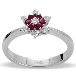 Ring aus 750 Weissgold mit 0,21 Karat Rubinen und 0,15 Karat Diamanten