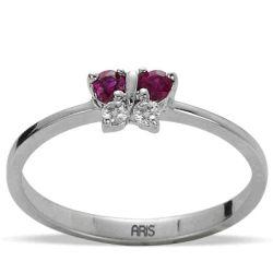 Ring aus 585 Weissgold mit 0,12 Karat Rubinen und 0,05 Karat Diamanten