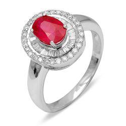 Ring aus 585 Weissgold mit einem 1,0 Karat Rubin und 0,26 Karat Diamanten