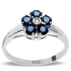 Ring aus 750 Weissgold mit 0,02 Karat Diamant und 0,63 Karat Saphire