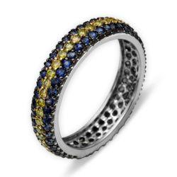Ring aus 750 Weissgold mit 0,53 und 1,12 Karat Saphire