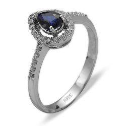 Ring aus 585 Weissgold mit 0,17 Karat Diamanten und einem 0,42 Karat Saphir