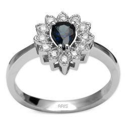 Ring aus 585 Weissgold mit 0,14 Karat Diamanten und einem 0,46 Karat Saphir