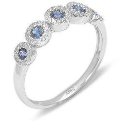 Ring aus 585 Weissgold mit 0,17 Karat Diamanten und einem 0,31 Karat Saphir