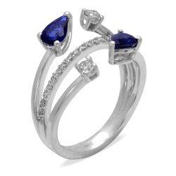 Ring aus 585 Weissgold mit 0,02 Karat Diamanten und 0,93 Karat Saphire