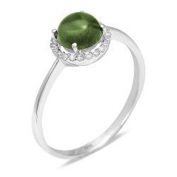 Ring aus 585 Weissgold mit 0,09 Karat Diamanten und einem 0,98 ct. Peridot