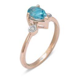 Ring aus 585 Roségold mit 0,02 Karat Diamanten und einem 1,42 Karat Edelstein