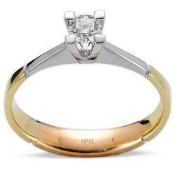 Ring aus 750 Weissgold/Gelbgold mit einem 0,24 Karat Diamanten