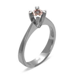 Ring aus 585 Weissgold mit einem 0,05 Karat Edelstein