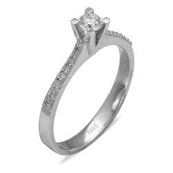 Ring aus 585 Weissgold mit 0,07 und 0,21 Karat Diamanten